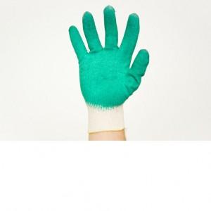 Перчатки х/б, зеленые,